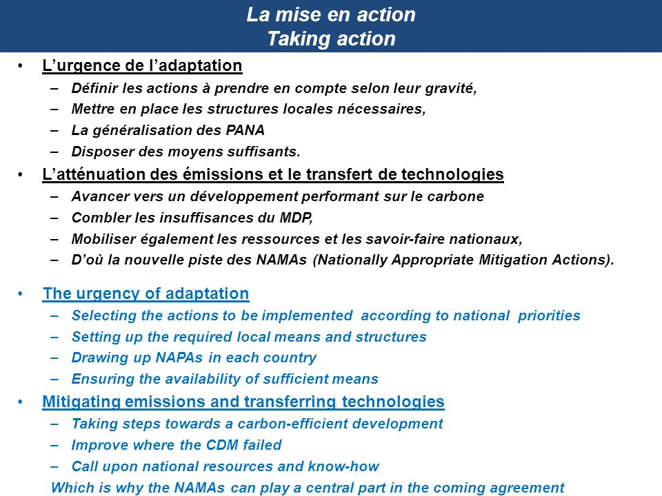 La mise en action Taking action