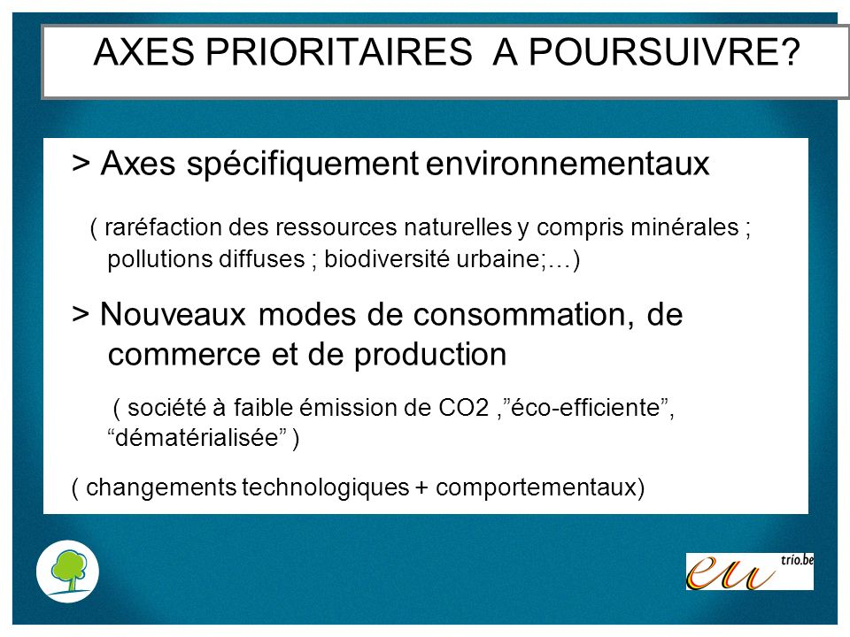 AXES PRIORITAIRES A POURSUIVRE