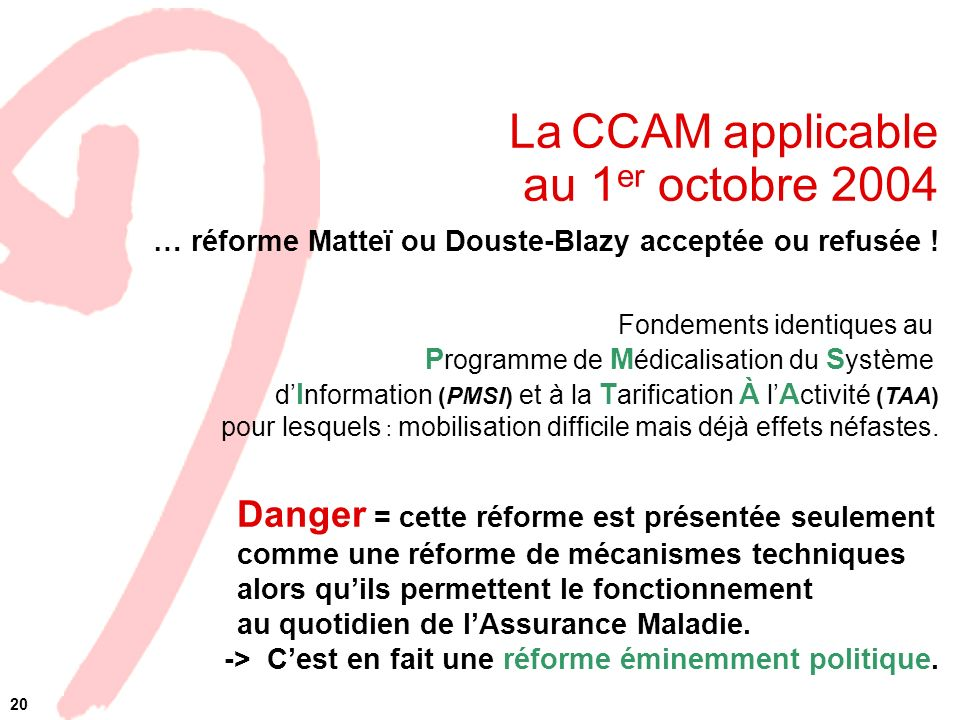 La CCAM applicable au 1er octobre 2004