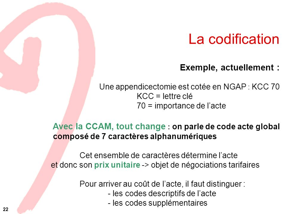 La codification Exemple, actuellement :