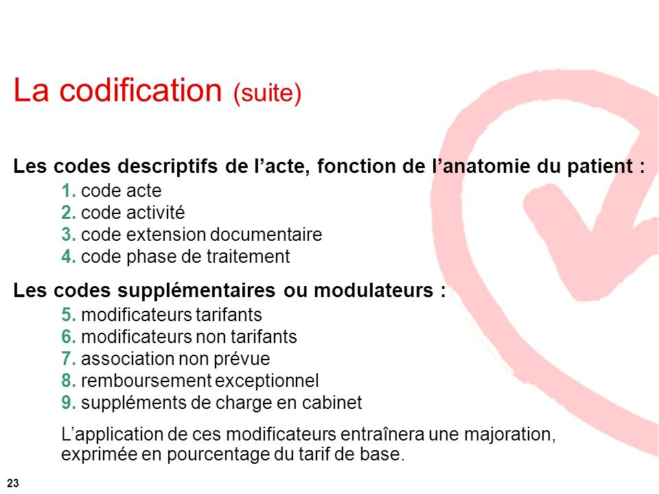 La codification (suite)