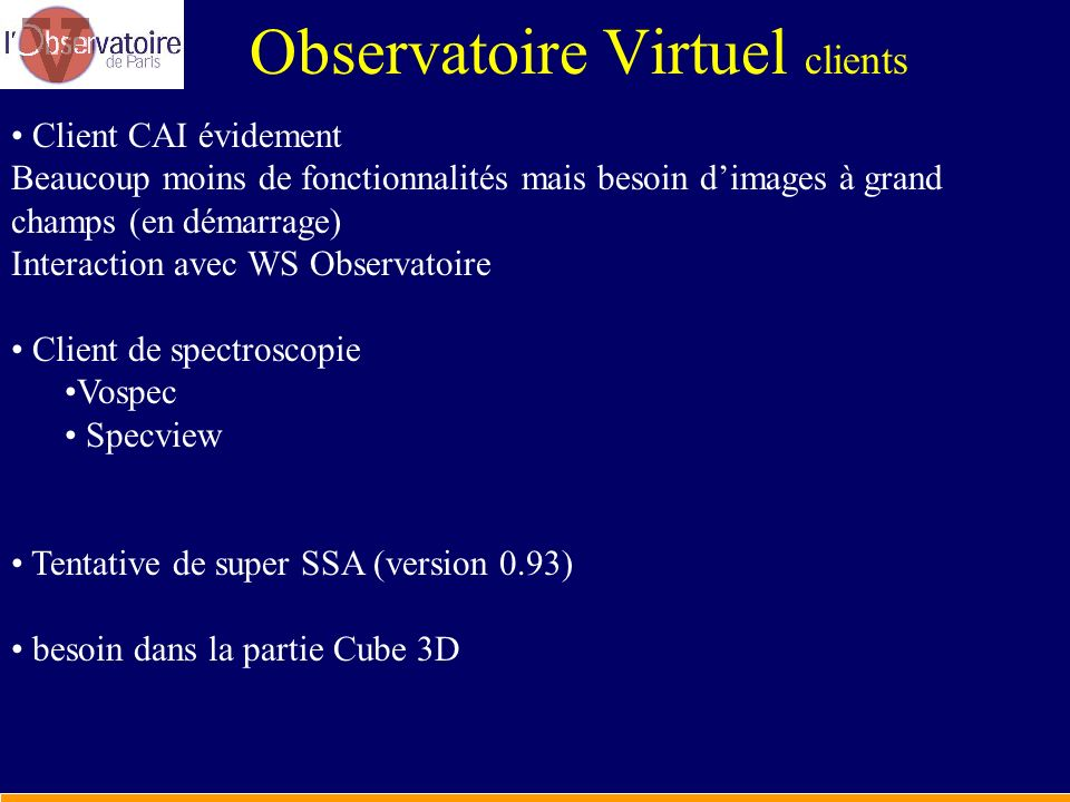 Observatoire Virtuel clients