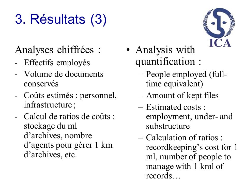 3. Résultats (3) Analyses chiffrées : Analysis with quantification :