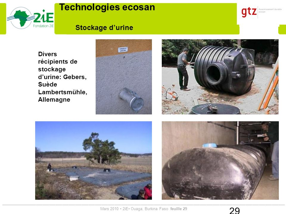 Technologies ecosan Stockage d'urine