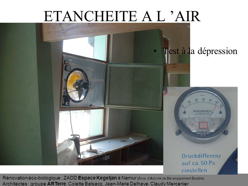 ETANCHEITE A L 'AIR Test à la dépression