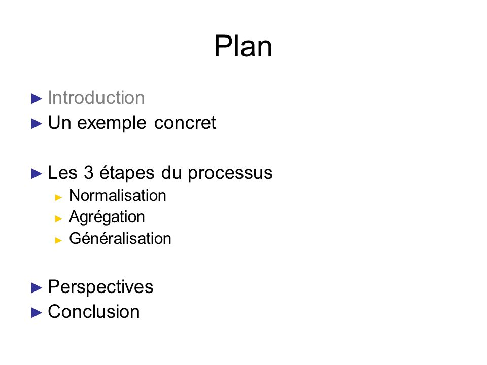 Plan Introduction Un exemple concret Les 3 étapes du processus