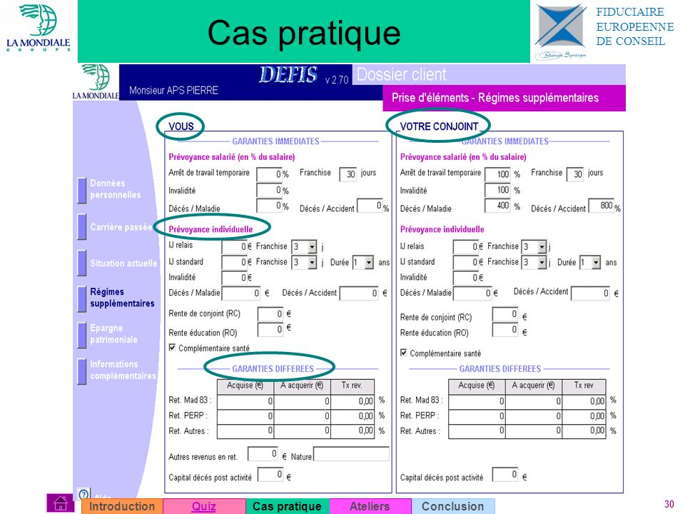 Cas pratique FIDUCIAIRE EUROPEENNE DE CONSEIL Introduction Quiz