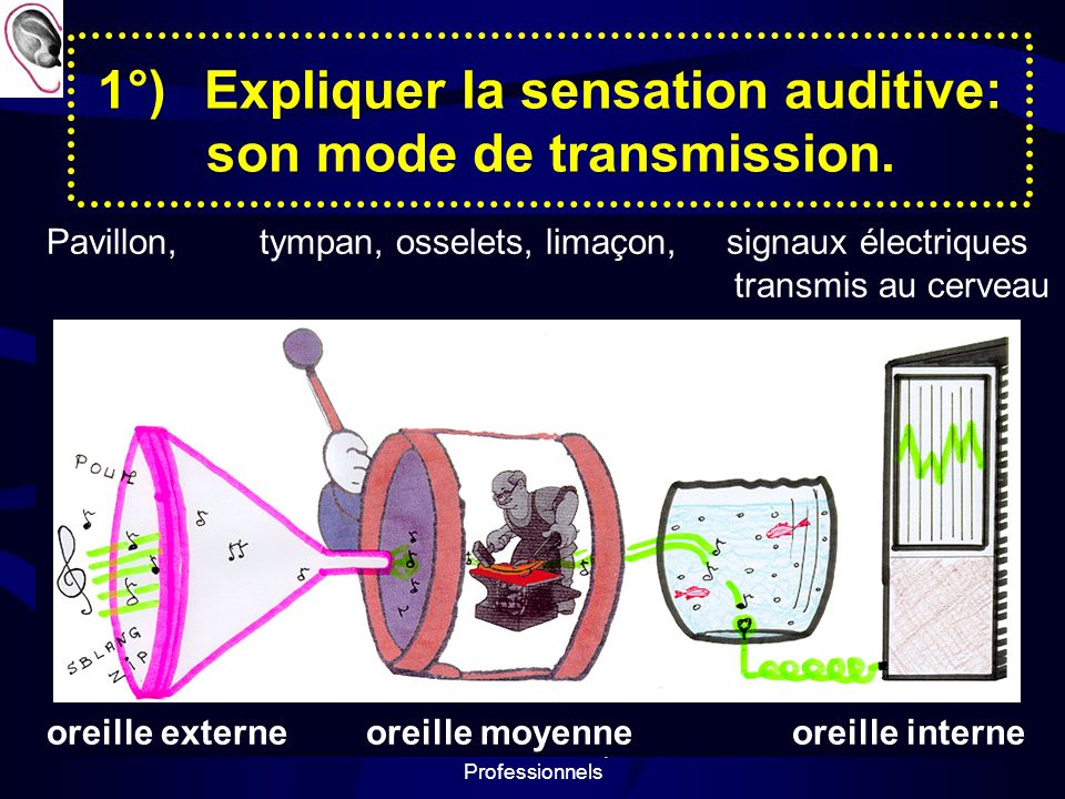 1°) Expliquer la sensation auditive: son mode de transmission.