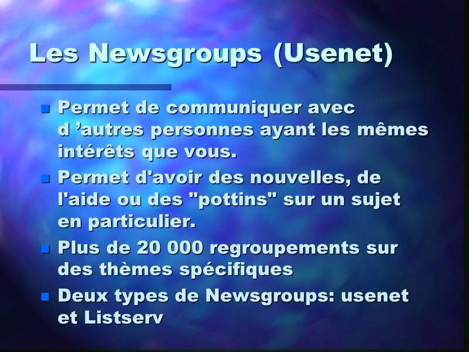 Les Newsgroups (Usenet)