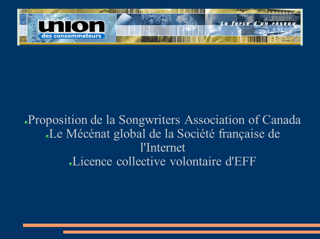 Proposition de la Songwriters Association of Canada