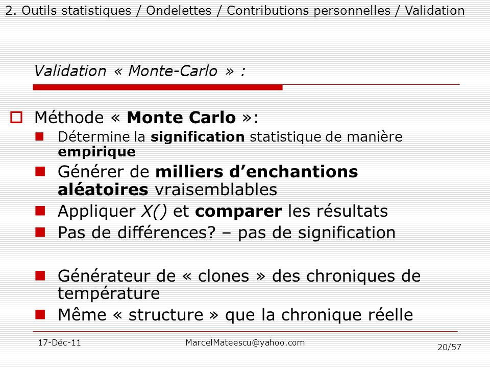 Validation « Monte-Carlo » :