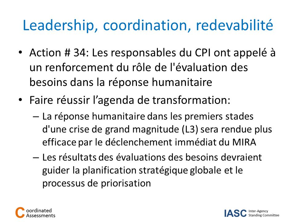 Leadership, coordination, redevabilité
