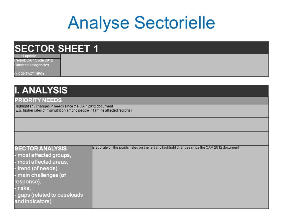 Analyse Sectorielle SECTOR SHEET 1 I. ANALYSIS PRIORITY NEEDS