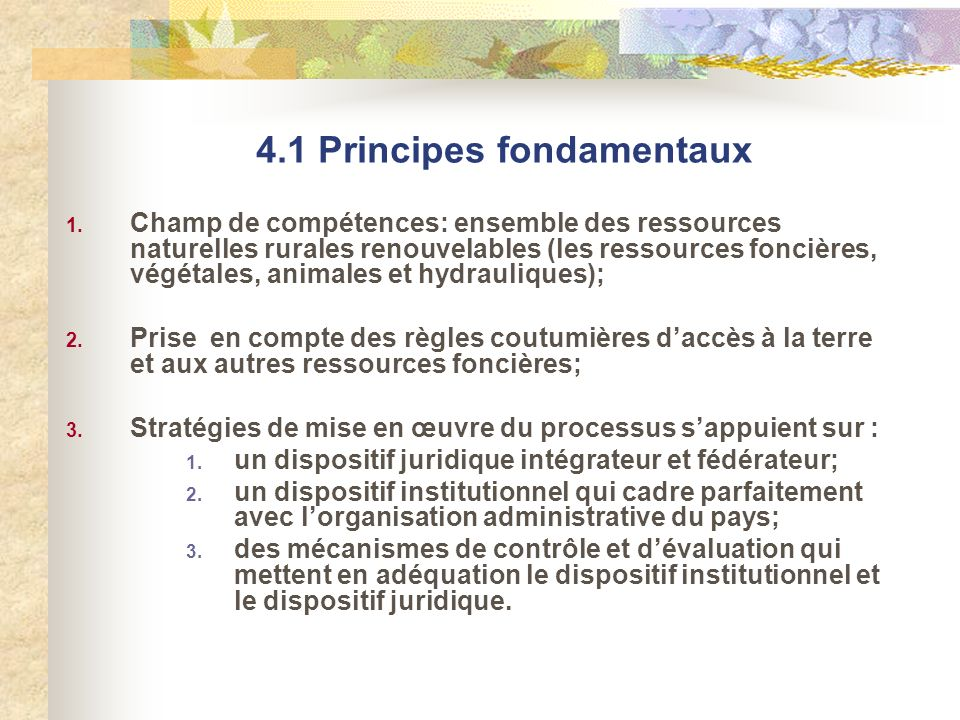 4.1 Principes fondamentaux