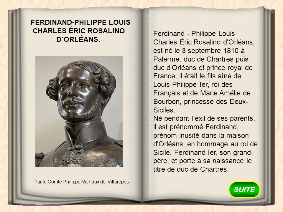 FERDINAND-PHILIPPE LOUIS CHARLES ÉRIC ROSALINO D´ORLÉANS.