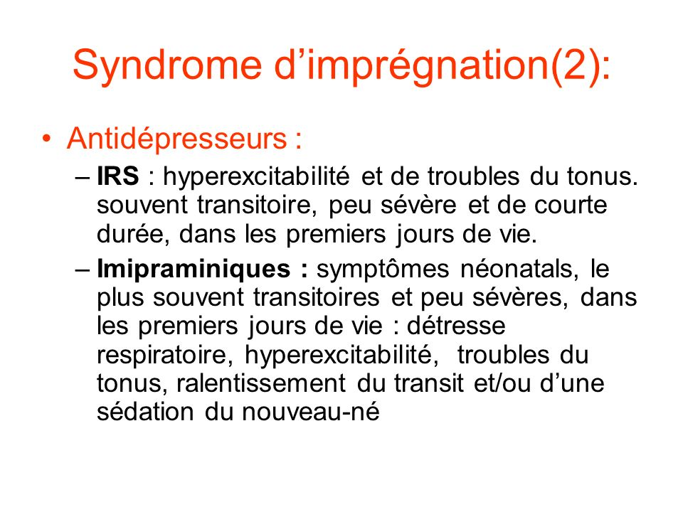 Syndrome d'imprégnation(2):