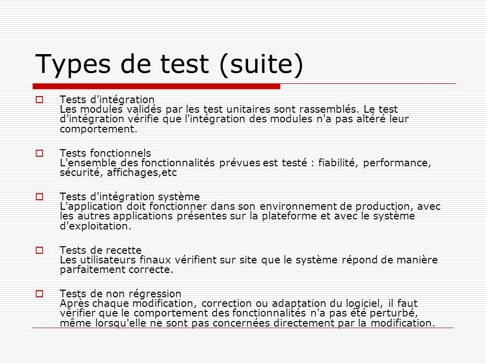 Types de test (suite)
