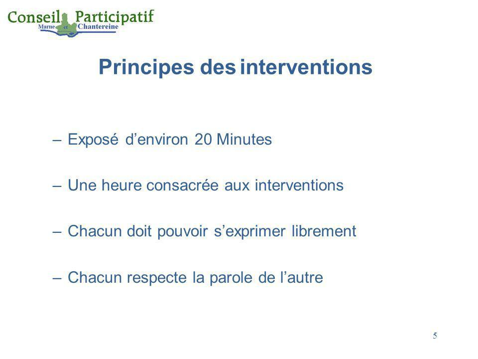 Principes des interventions