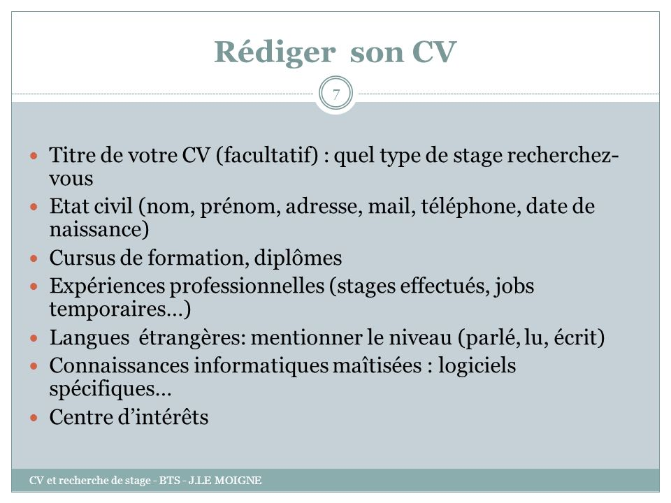 Bts Le Cv Cv Et Recherche De Stage Bts J Le Moigne