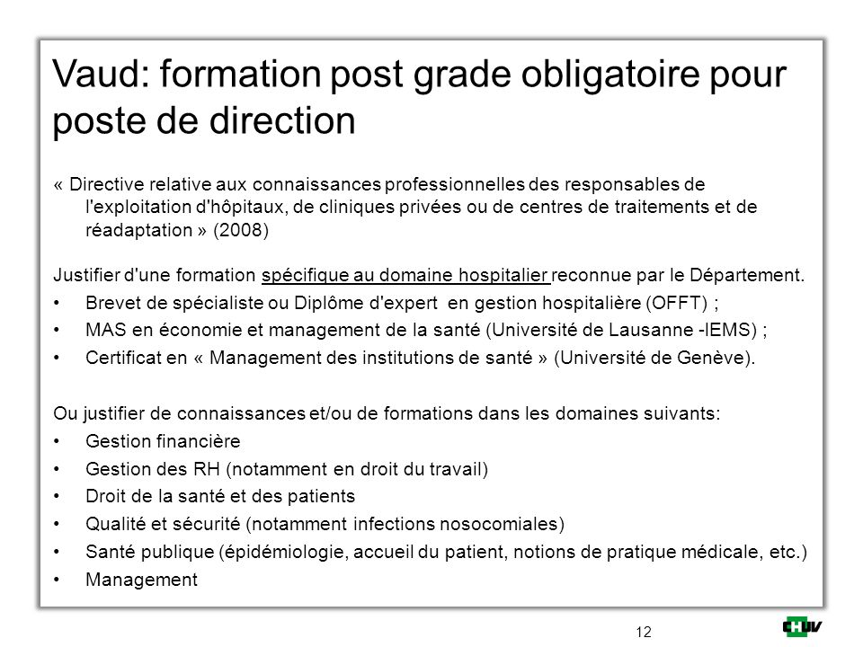 Vaud: formation post grade obligatoire pour poste de direction