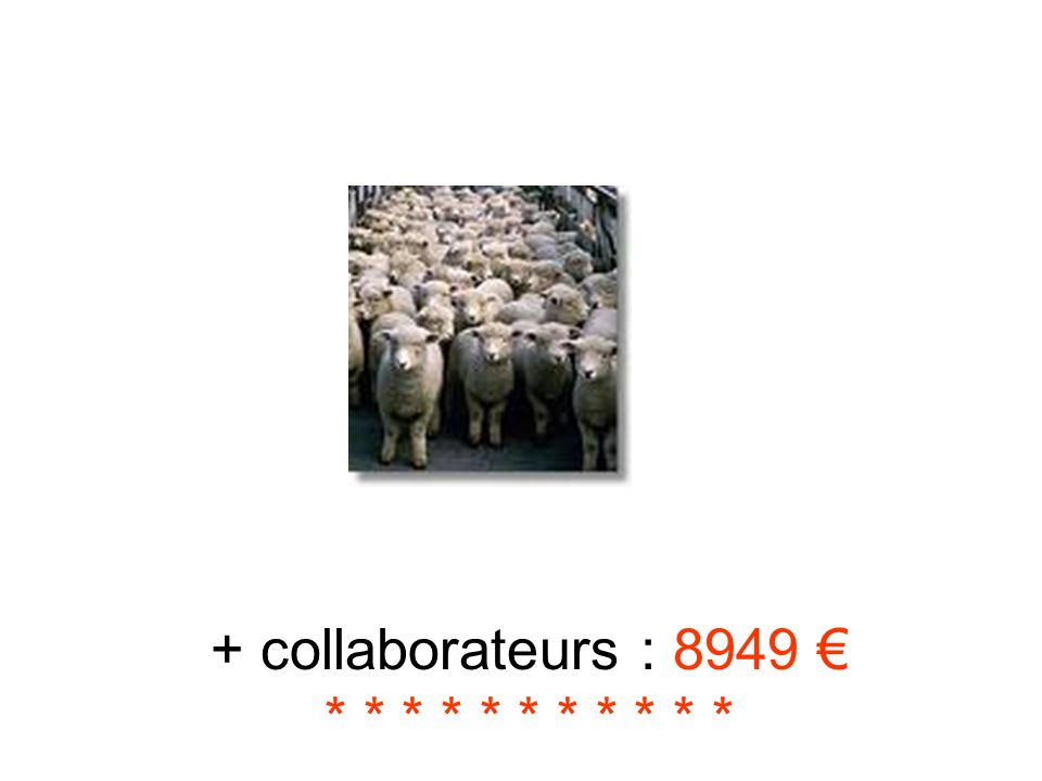 + collaborateurs : 8949 € * * * * * * * * * * *