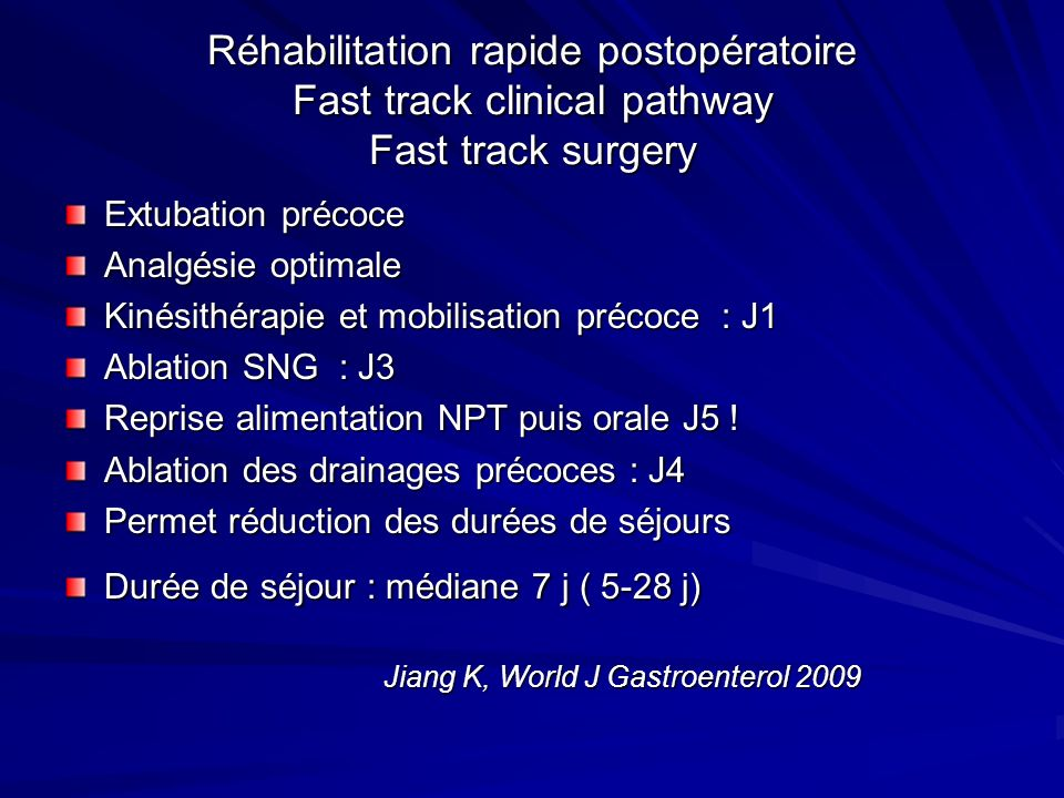 Réhabilitation rapide postopératoire Fast track clinical pathway Fast track surgery