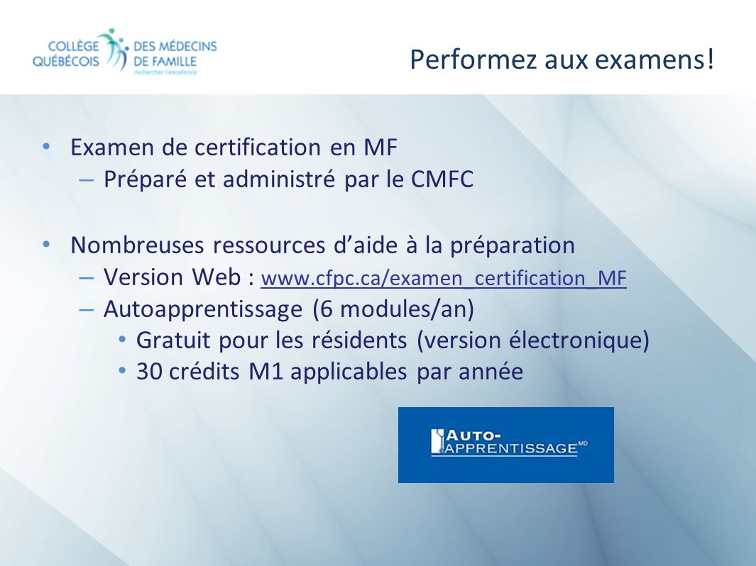 Performez aux examens! Examen de certification en MF