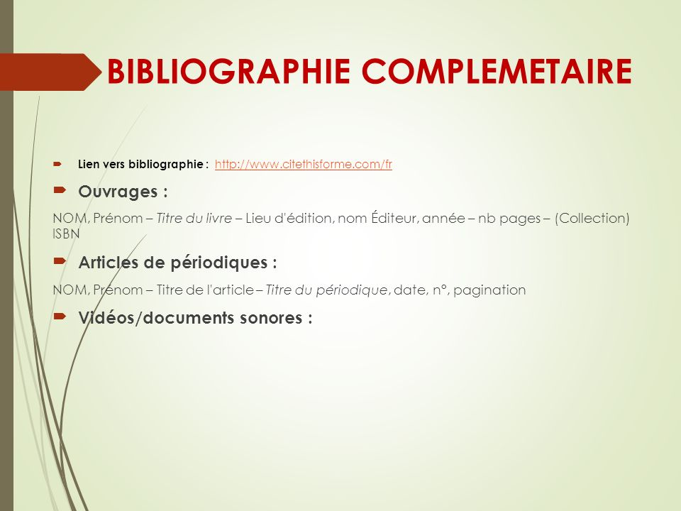 BIBLIOGRAPHIE COMPLEMETAIRE