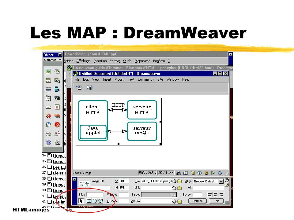 Les MAP : DreamWeaver 45 HTML-images HTML