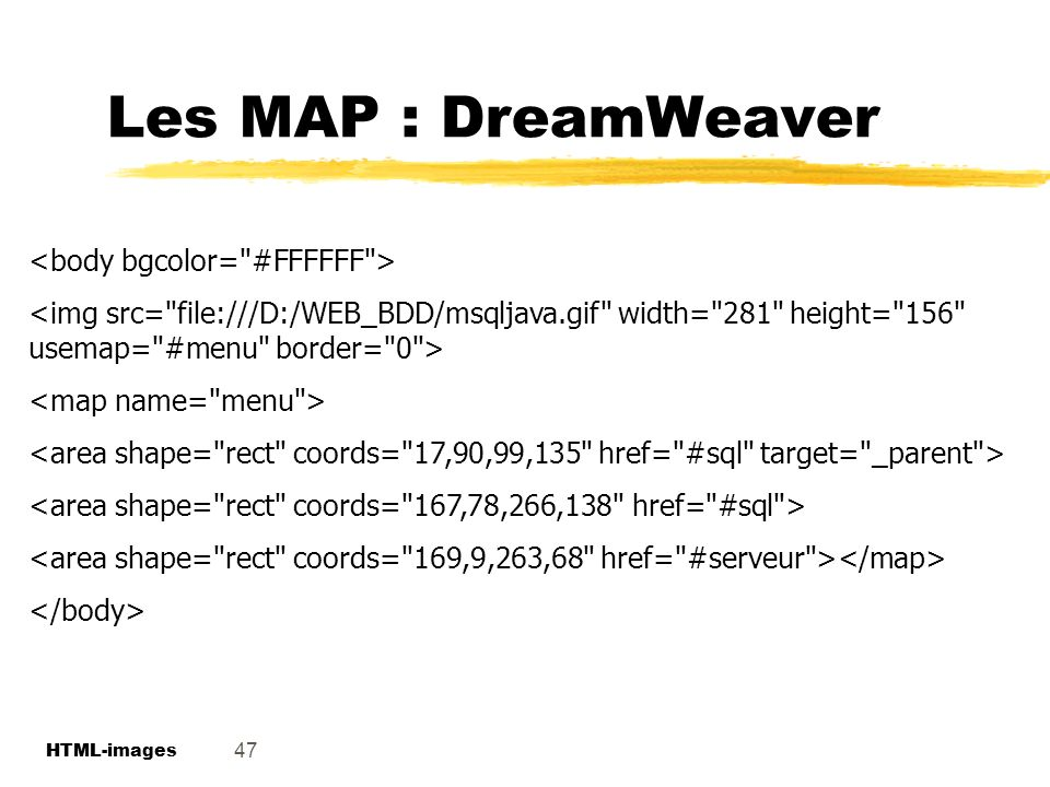 Les MAP : DreamWeaver <body bgcolor= #FFFFFF >