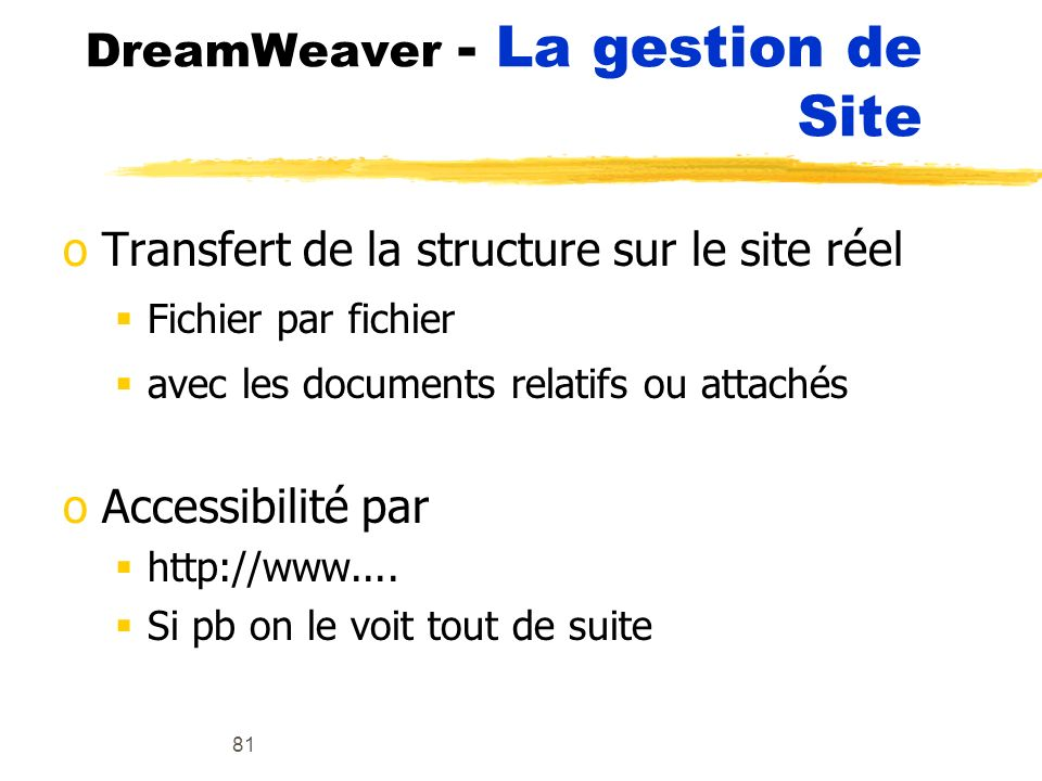 DreamWeaver - La gestion de Site