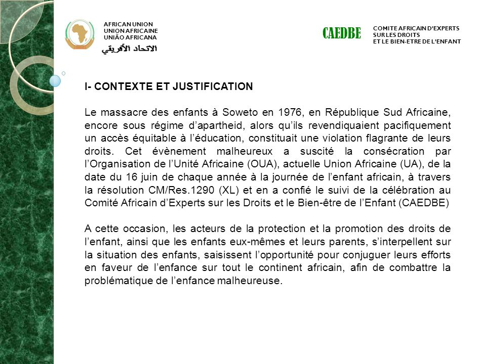 CAEDBE I- CONTEXTE ET JUSTIFICATION