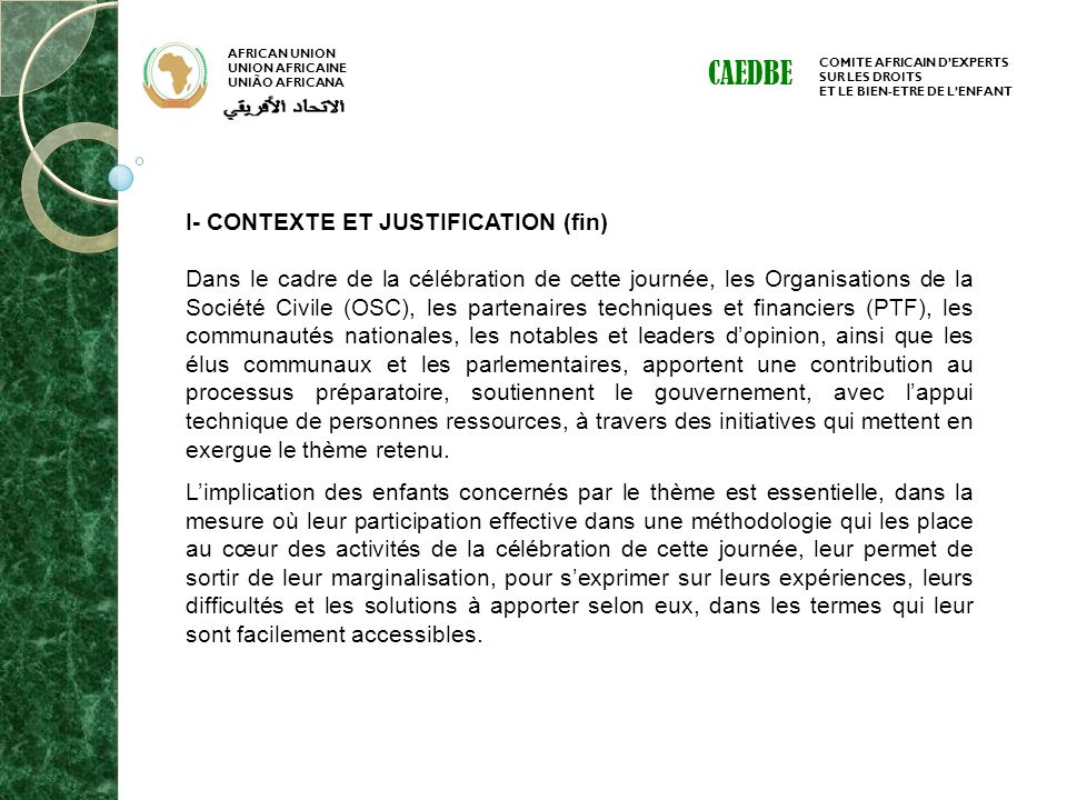 CAEDBE I- CONTEXTE ET JUSTIFICATION (fin)