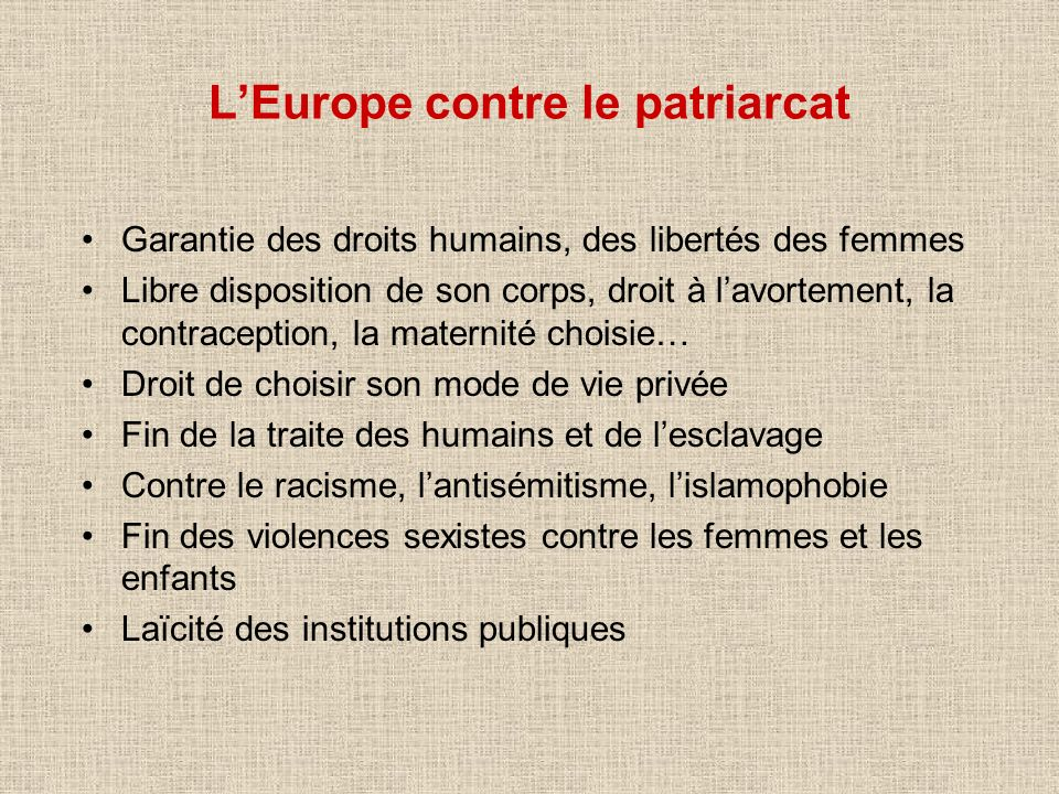 L'Europe contre le patriarcat
