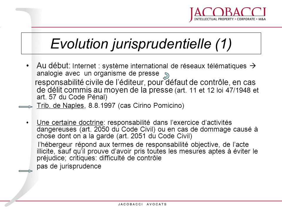 Evolution jurisprudentielle (1)
