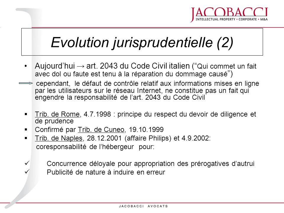 Evolution jurisprudentielle (2)