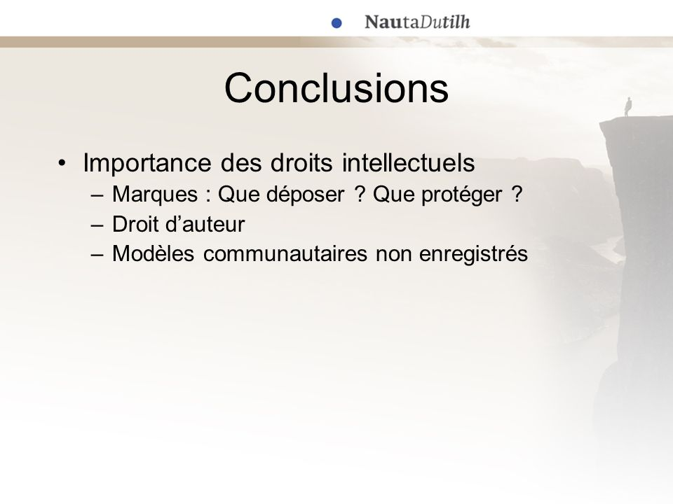 Conclusions Importance des droits intellectuels