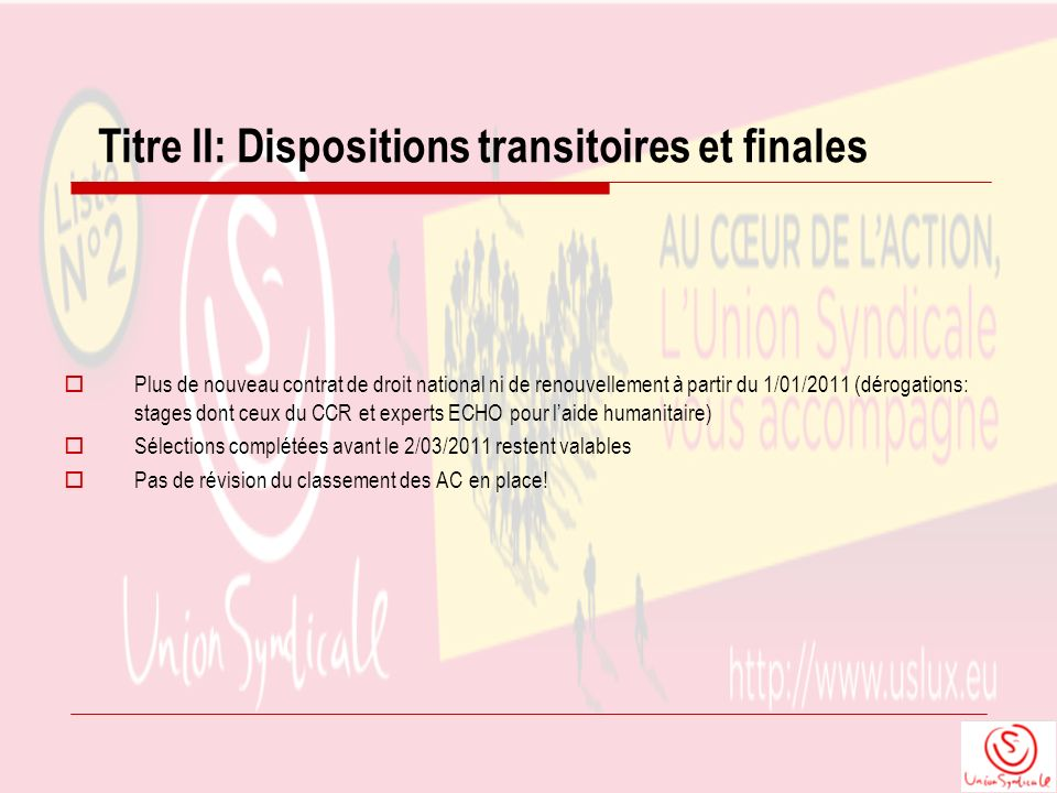 Titre II: Dispositions transitoires et finales