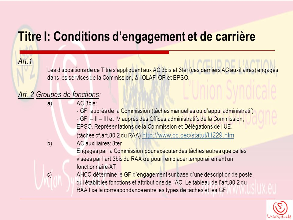 Titre I: Conditions d'engagement et de carrière