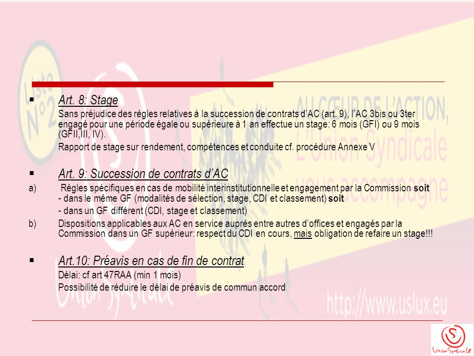 Art. 9: Succession de contrats d'AC