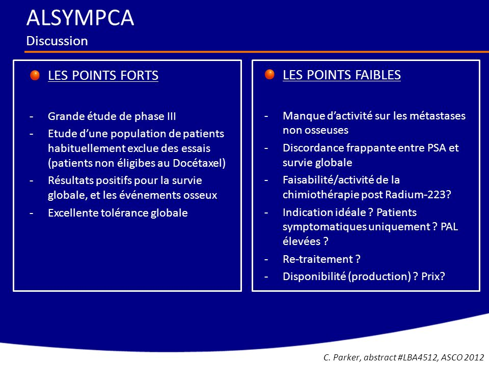 ALSYMPCA Discussion LES POINTS FAIBLES LES POINTS FORTS