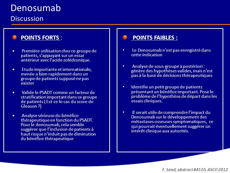 Denosumab Discussion POINTS FORTS : POINTS FAIBLES :