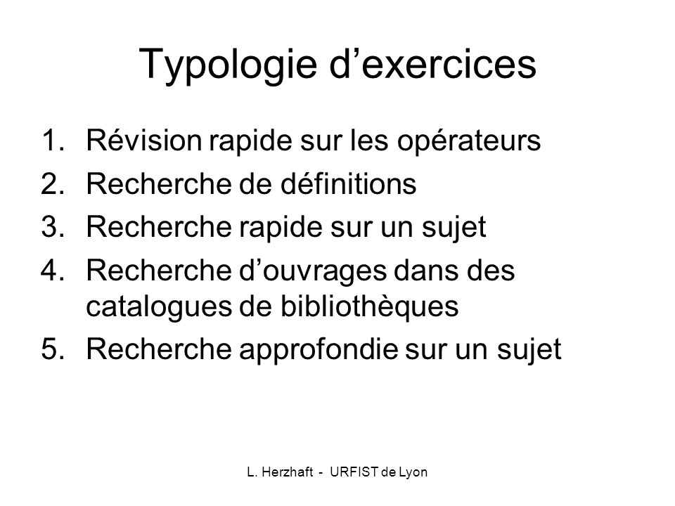Typologie d'exercices