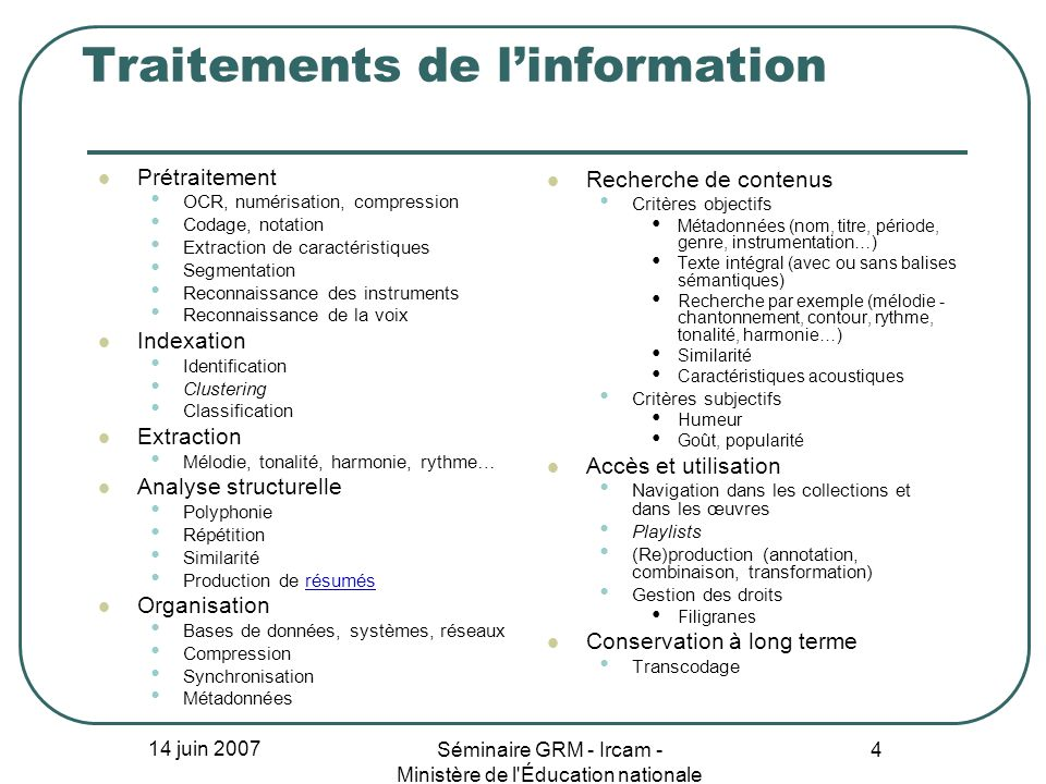 Traitements de l'information