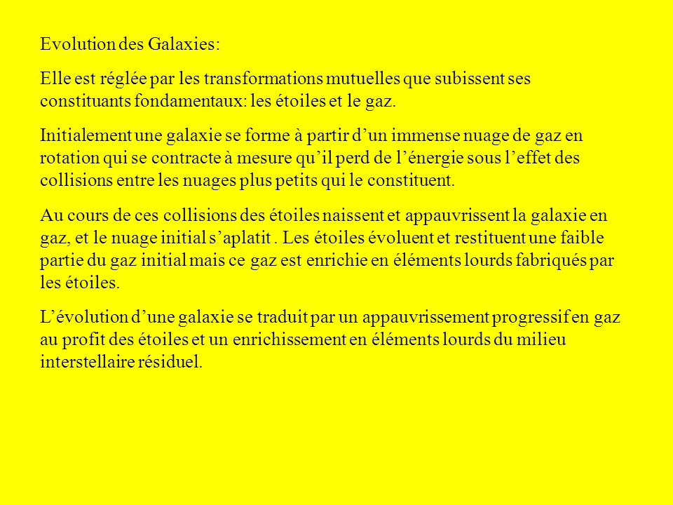 Evolution des Galaxies: