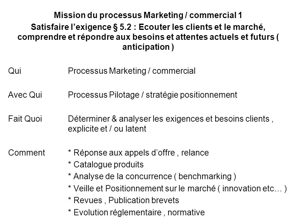 Mission du processus Marketing / commercial 1