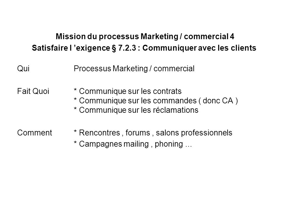 Mission du processus Marketing / commercial 4