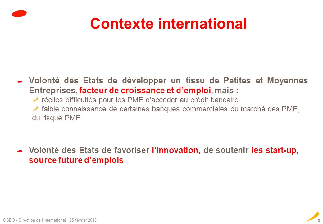 Contexte international