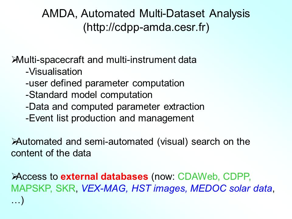 AMDA, Automated Multi-Dataset Analysis (