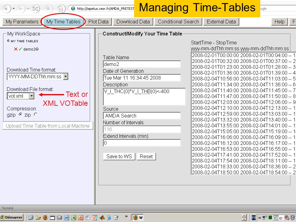 Managing Time-Tables Text or XML VOTable